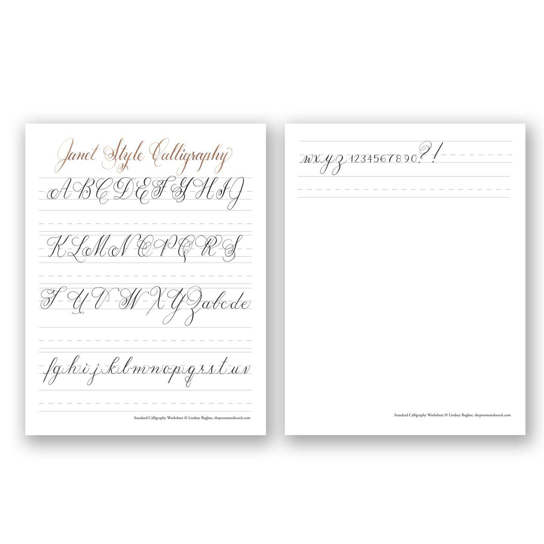 Free Basic Calligraphy Worksheet Janet Style The: calligraphy basics